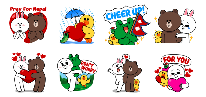 Pray for Nepal LINE Charity Stickers